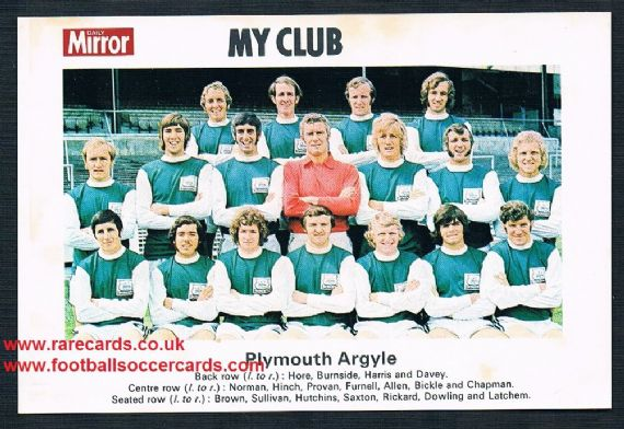 1970 My Club Daily Mirror postcard-size card Plymouth Argyle